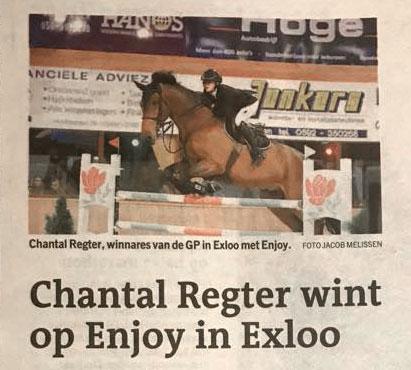 Chantal Regter wint met Enjoy Grote prijs Exloo
